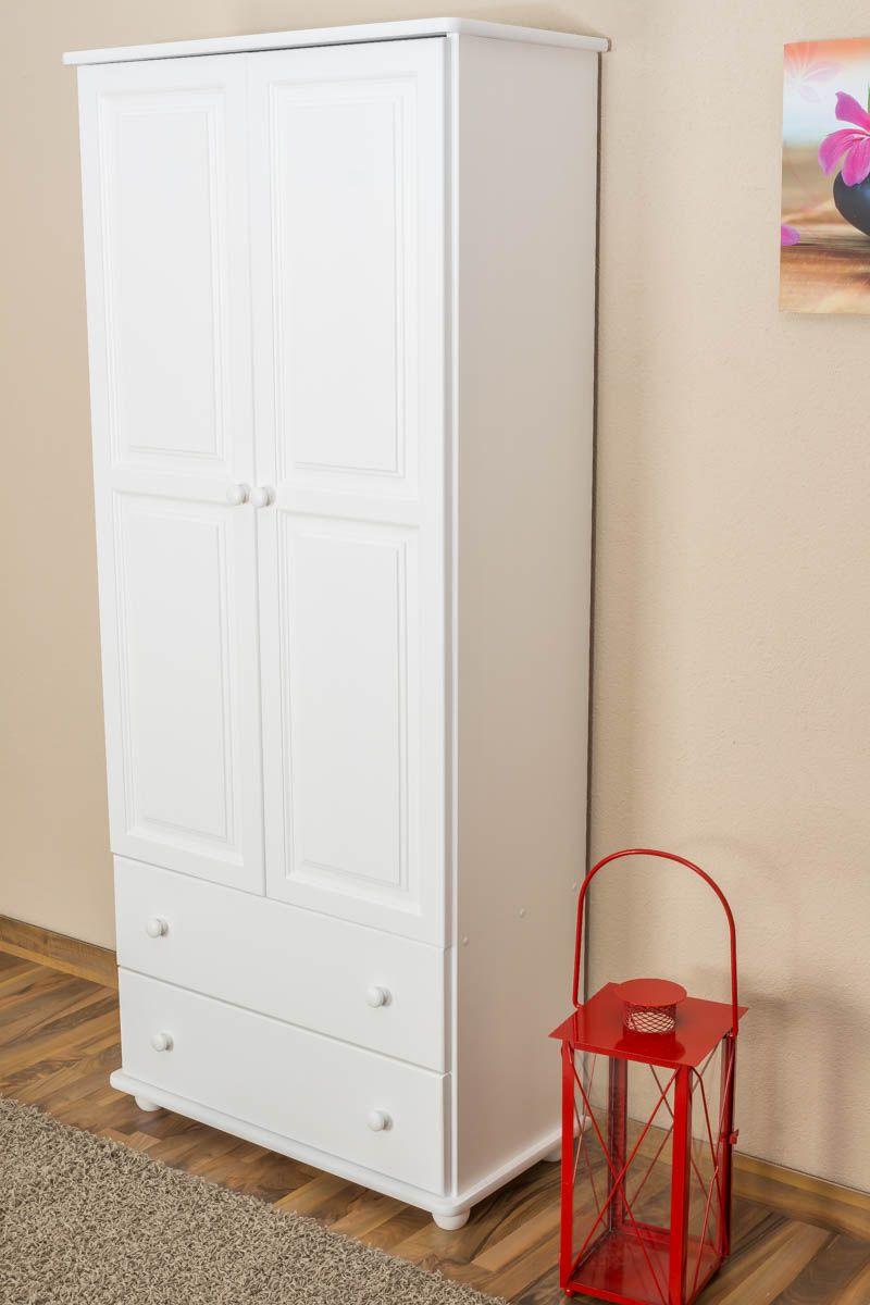 Schrank Kiefer massiv Vollholz weiß Junco 33 - Abmessung 195 x 84 x 42 cm