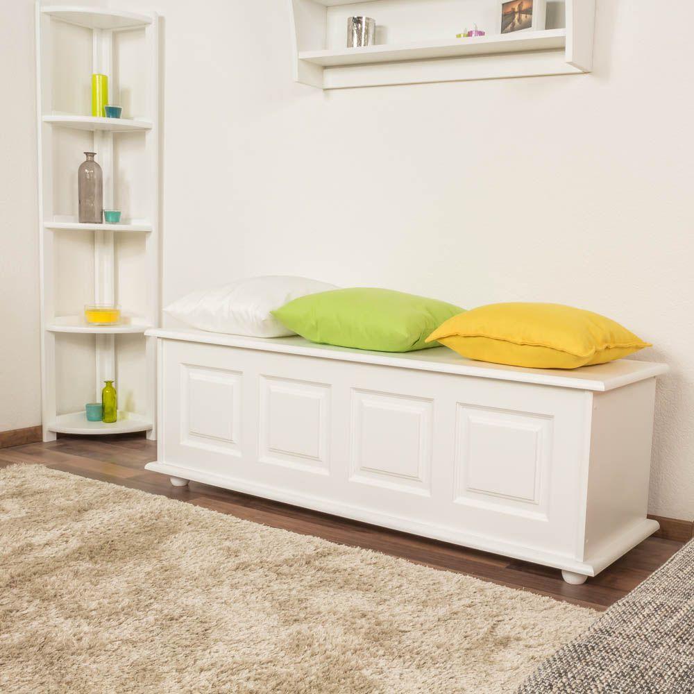 Truhe Holztruhe Kiefer massiv Vollholz weiß lackiert 179 – 50 x 154 x 46 cm (H x B x T), Sitztruhe Truhenbank