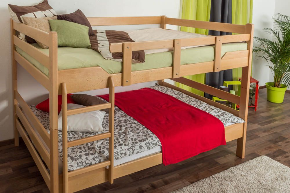 """Stockbett für Erwachsene """"Easy Premium Line"""" K16/n, Kopf- und Fußteil gerade, Buche Vollholz massiv Natur - Liegefläche: 160 x 200 cm, teilbar"""