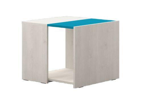 Kinderzimmer - Tisch Peter 07, Farbe: Kiefer Weiß / Türkis - Abmessungen: 47 x 57 x 56 cm (H x B x T)