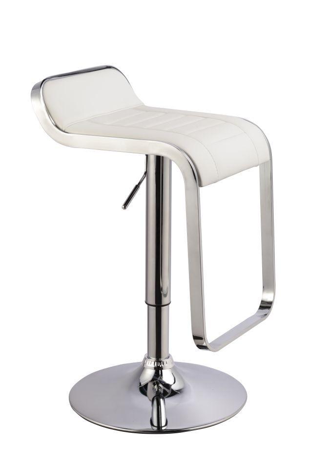 Barhocker Okola 30, Farbe: Weiß - Abmessungen: 68 - 90 x 36 x 42 cm (H x B x T)