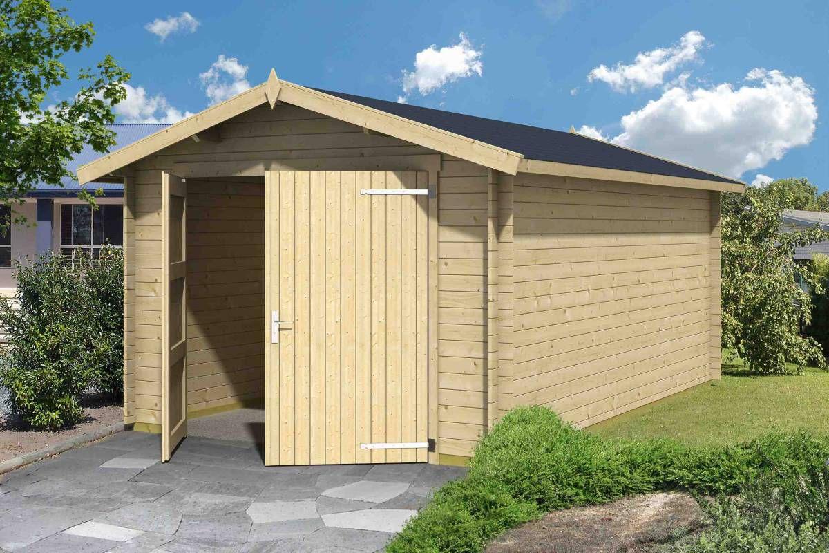 Holzgarage H100 - 28 mm Blockbohlenhaus, Grundfläche: 16,80 m², Satteldach