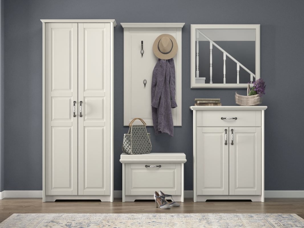 Garderobe Komplett - Set E Falefa, 5-teilig, Farbe: Elfenbein