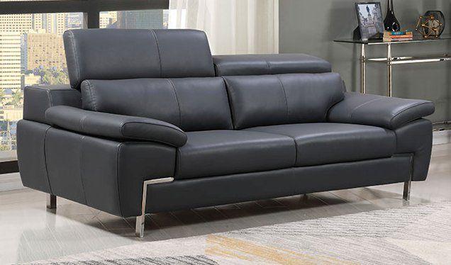 Echtleder Premium Couch Monza, 3-Sitz Sofa, Farbe: Dunkelgrau