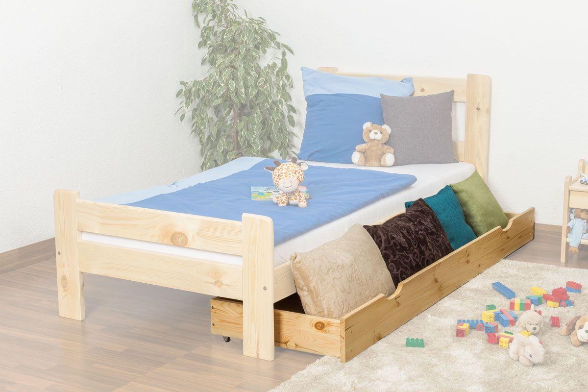 Schublade für Bett - Kiefer Vollholz massiv natur 003- Abmessung 18,50 x 198 x 54 cm (H x B x T)