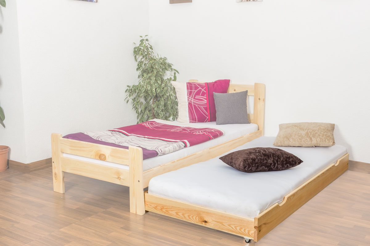 Rollbett / Zweite Liegefläche für Bett - Kiefer Vollholz massiv natur 003- Abmessung 18,50 x 198 x 95 cm (H x B x T)