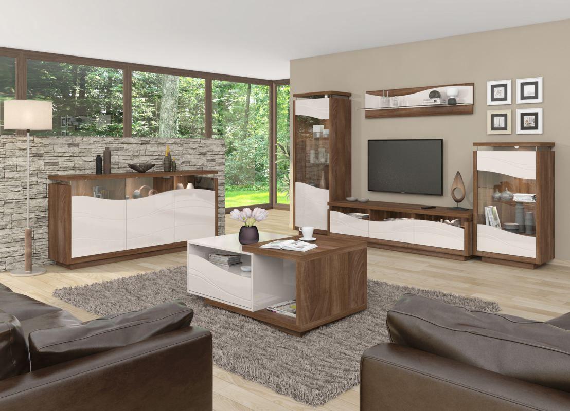 Wohnzimmer Komplett - Set A Patamea, 6-teilig, Farbe: Nussfarben / Creme Hochglanz