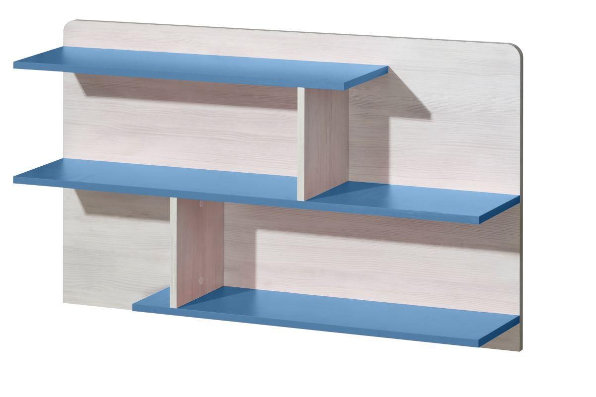 Kinderzimmer - Hängeregal Justus 08, Farbe: Kiefer Blau - Abmessungen: 65 x 110 x 22 cm (H x B x T)
