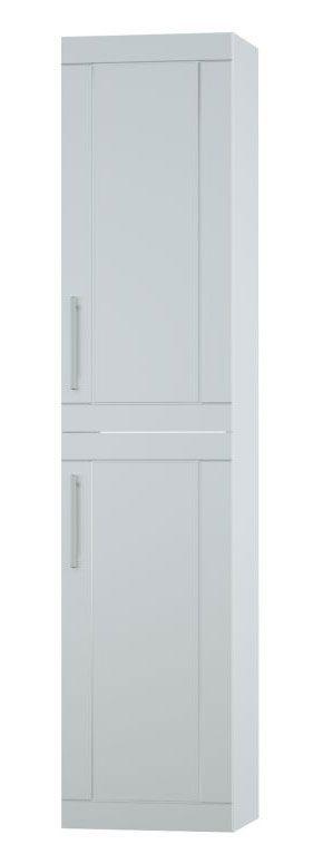 Bad - Hochschrank Eluru 11, Farbe: Weiß glänzend – 160 x 35 x 35 cm (H x B x T)