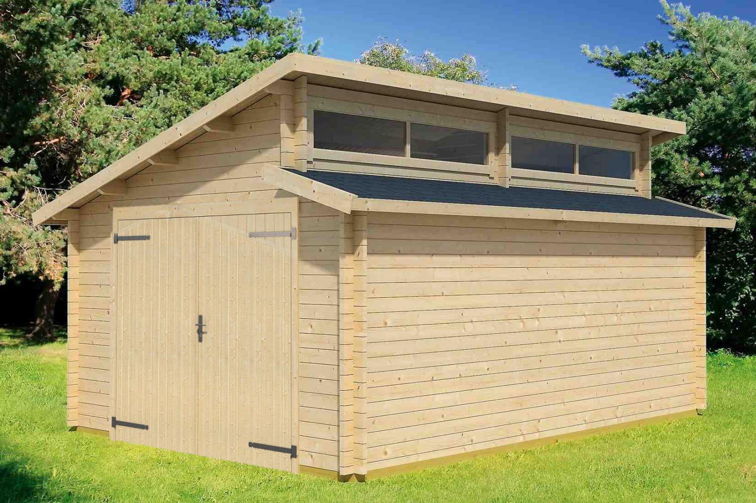 Holzgarage H165 inkl. Holztor - 44 mm Blockbohlenhaus, Grundfläche: 20,30 m², Stufendach