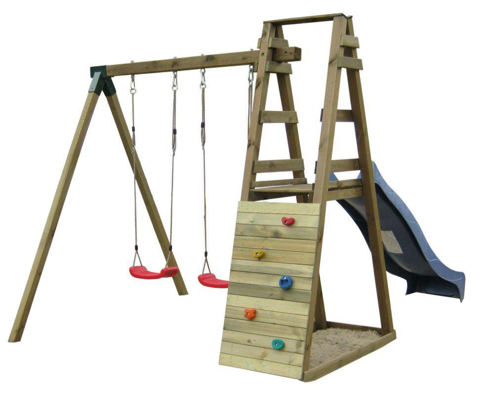 Doppelschaukel mit Rutsche und Kletterwand 1A - Abmessungen: 245 x 205 cm