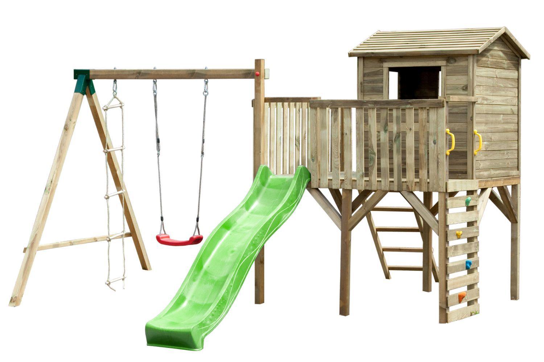 Spielturm 16 inkl. Wellenrutsche, Kletterwand, Einzelschaukel-Anbau und Strickleiter - Abmessungen: 370 x 430 cm