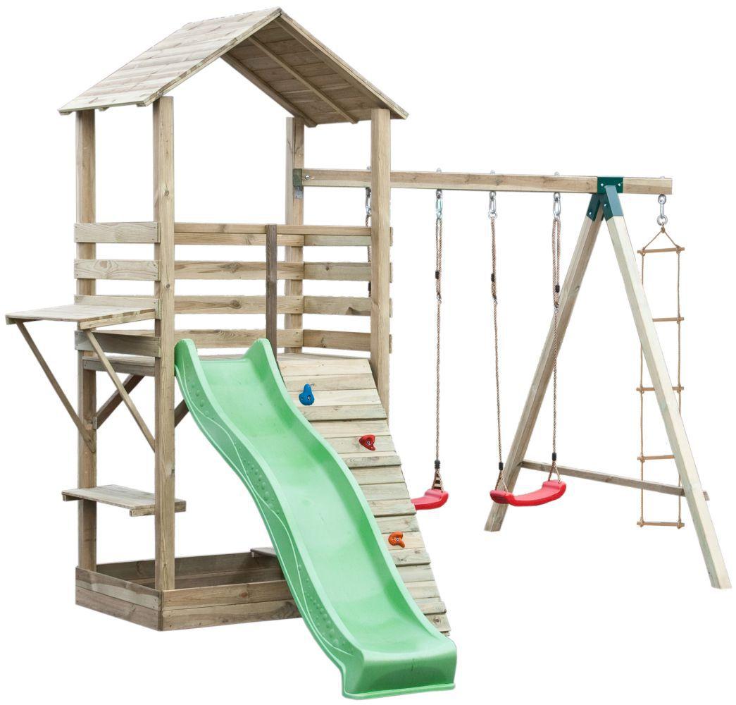 Spielturm 17B inkl. Wellenrutsche, Kletterwand, Doppelschaukel-Anbau und Strickleiter - Abmessungen: 315 x 370 cm
