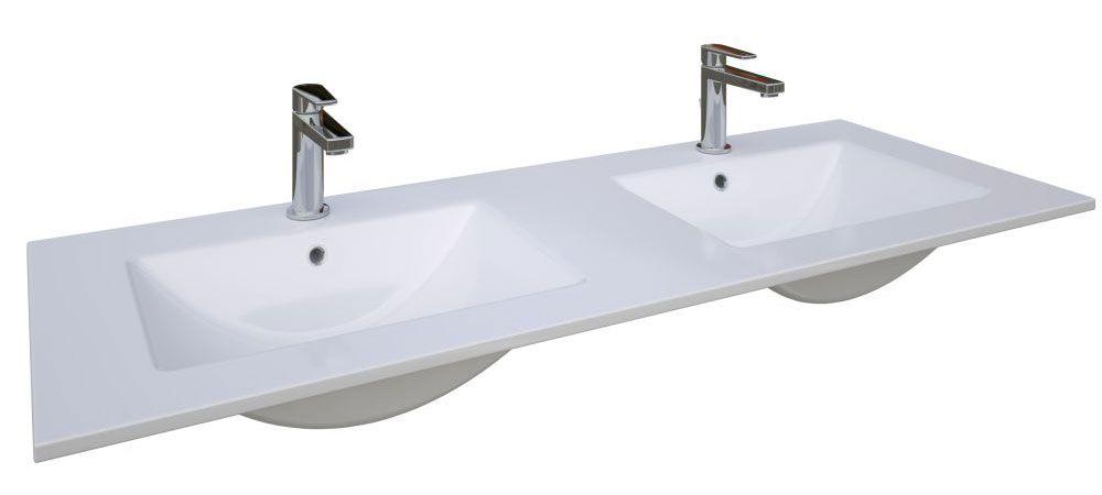 Bad - Doppelwaschbecken Bokaro 05, Farbe: Weiß – 18 x 121 x 45 cm (H x B x T)