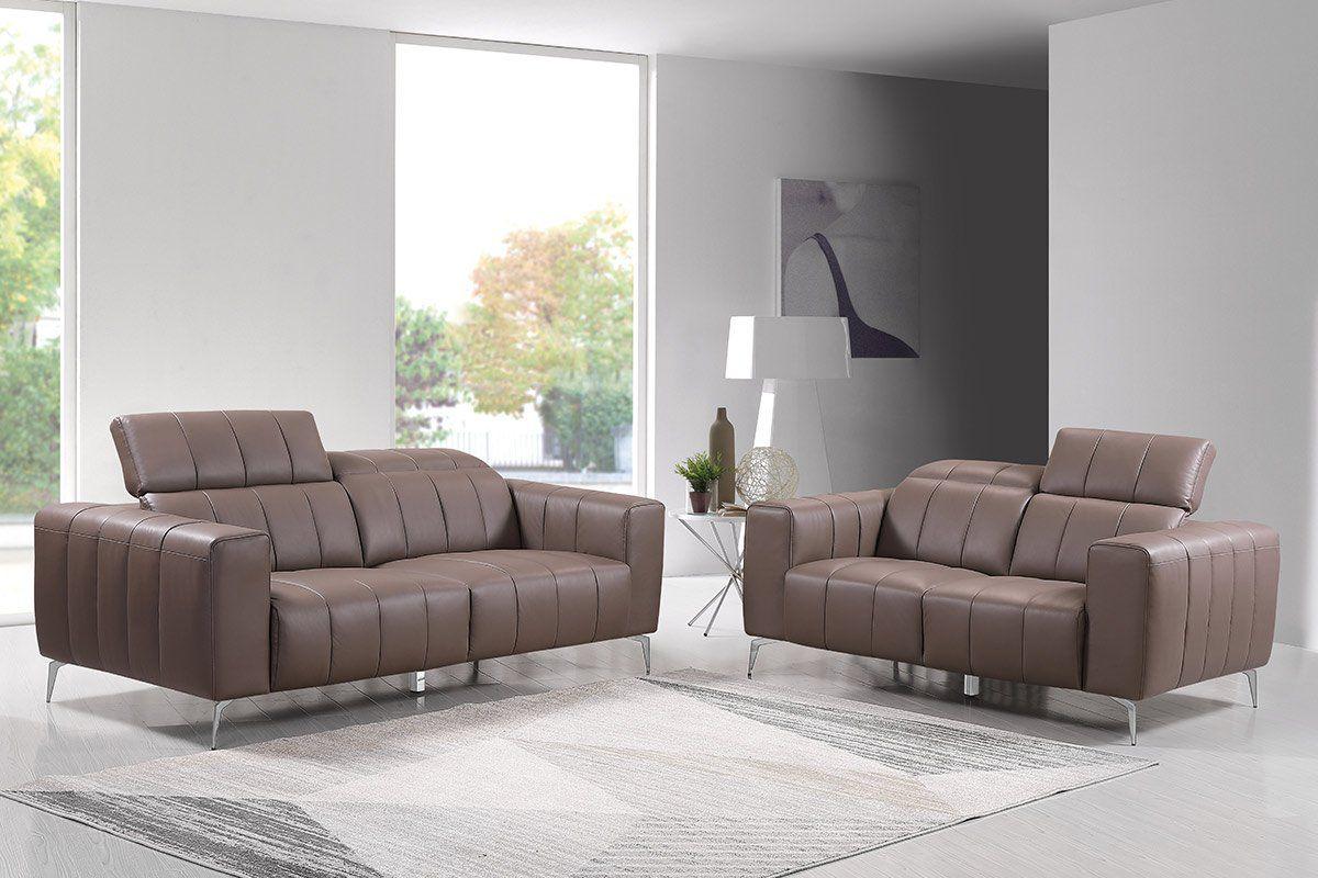 Echtleder Premium Couch Roma, Set (2- und 3-Sitz Sofa), Farbe: Beige-braun