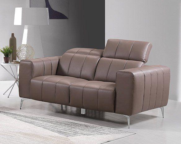 Echtleder Premium Couch Roma, 2-Sitz Sofa, Farbe: Beige-braun