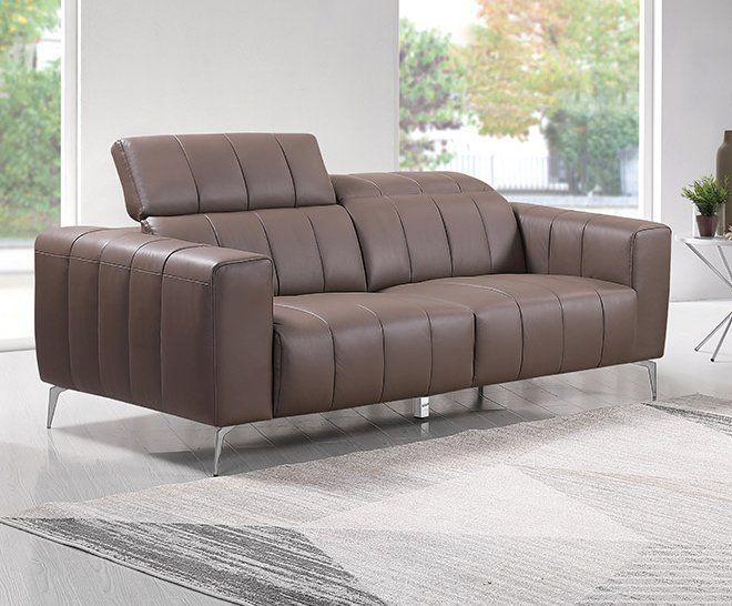 Echtleder Premium Couch Roma, 3-Sitz Sofa, Farbe: Beige-braun