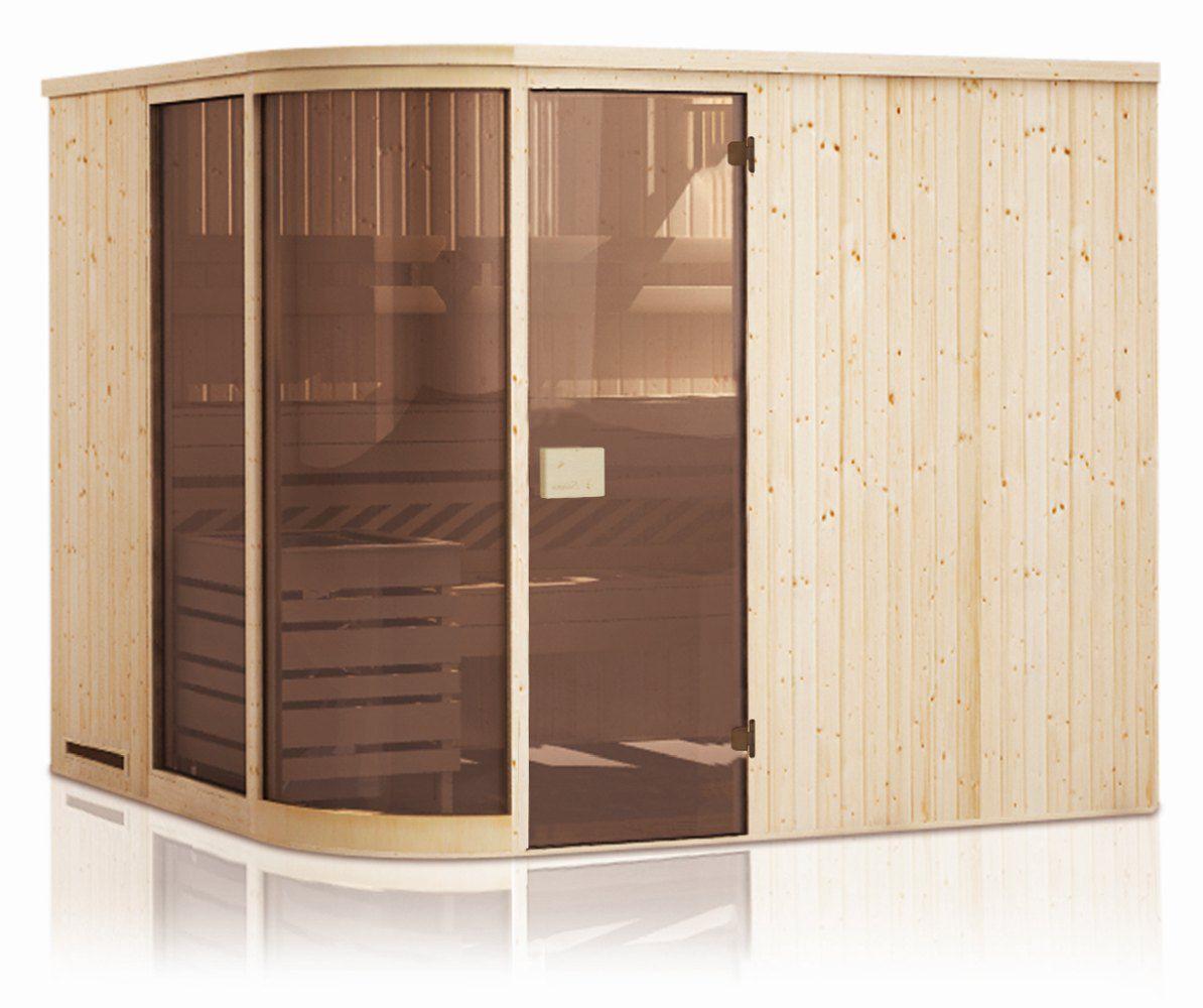 Elementsauna Yuma 68 mm mit 2 Sichtfenstern und Dachkranz - Außenmaße (B x T x H): 244 x 194 x 199 cm