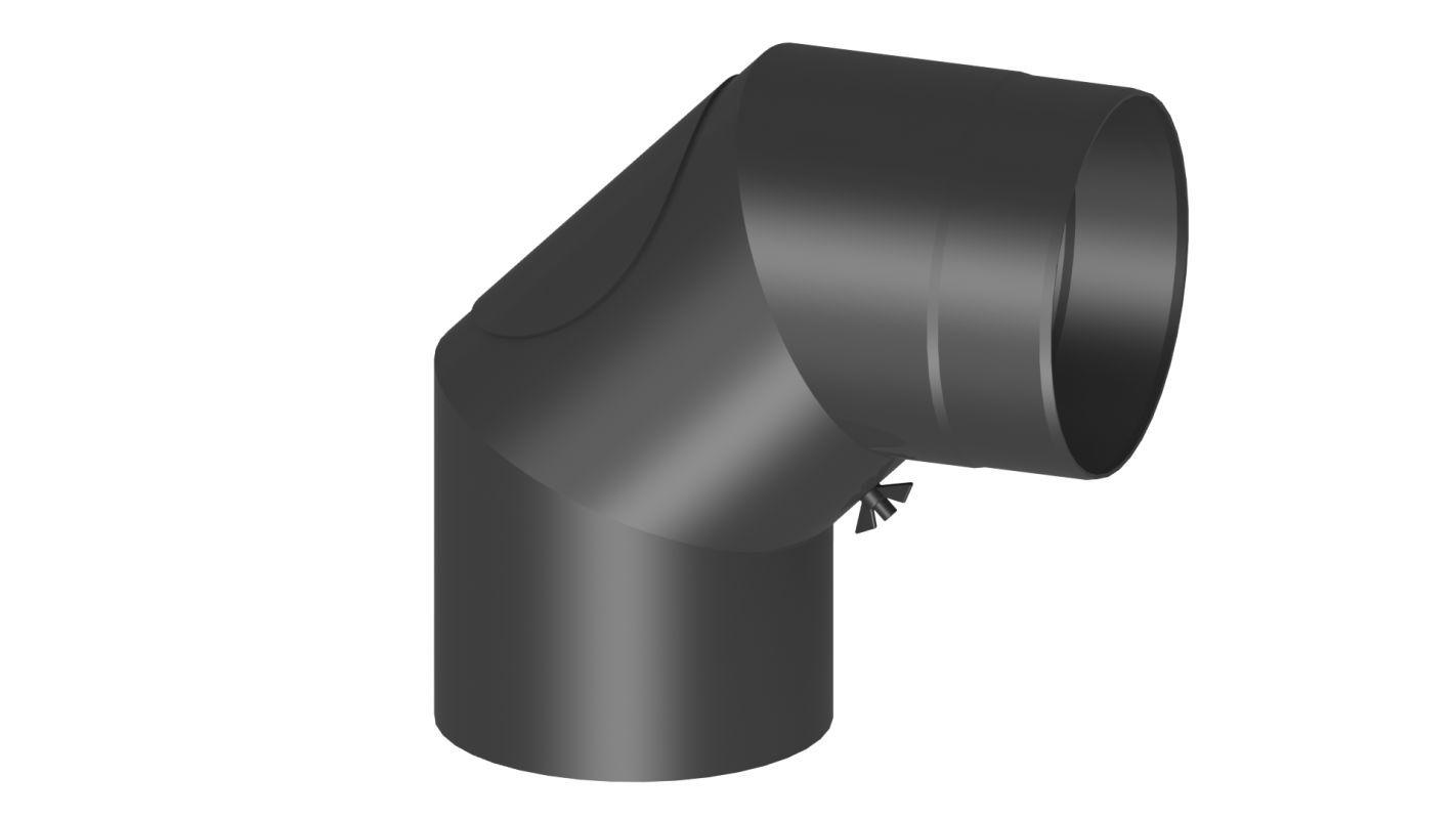 Rauchrohr Bogen 90 Grad mit Tür - Durchmesser: 120 mm, Farbe: Grau