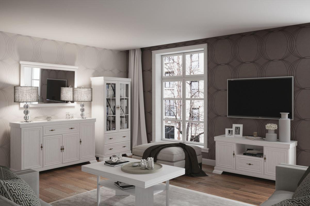 Wohnzimmer Komplett - Set F Sentis, 5-teilig, Farbe: Kiefer Weiß
