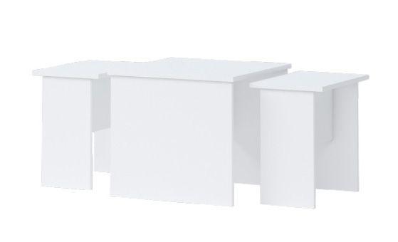 Kinderzimmer - Tisch Benjamin 09, 3-teilig, Farbe: Weiß