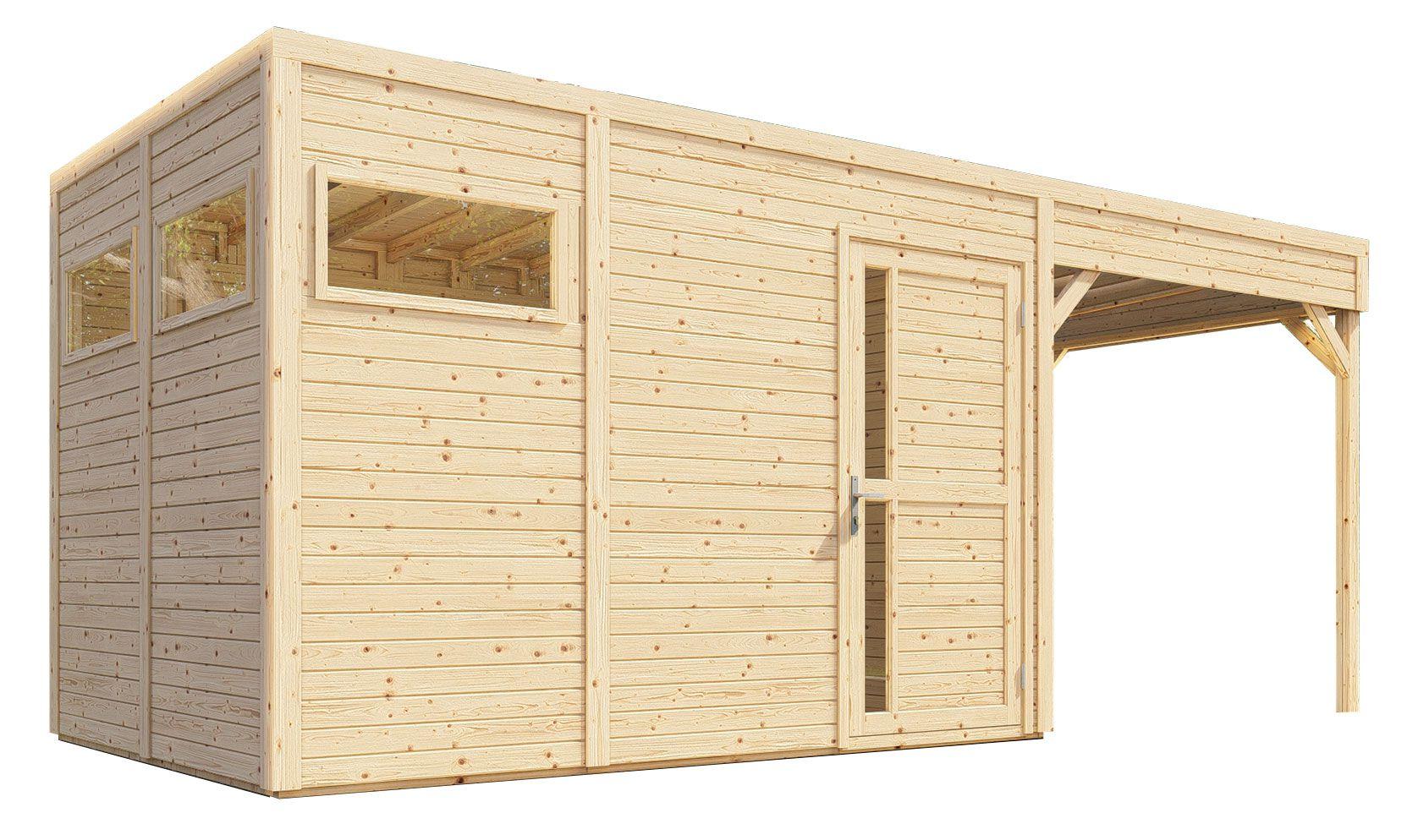Gartenhaus Basel 03 mit Anbaudach inkl. Fußboden und Dachpappe, Naturbelassen - 19 mm Elementgartenhaus, Nutzfläche: 7,70 m², Flachdach