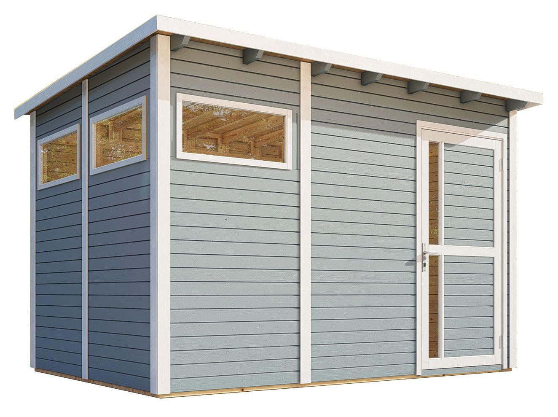 Gartenhaus Kiel 03 inkl. Fußboden und Dachpappe, Hellgrau lackiert - 19 mm Elementgartenhaus, Nutzfläche: 7,70 m², Flachdach