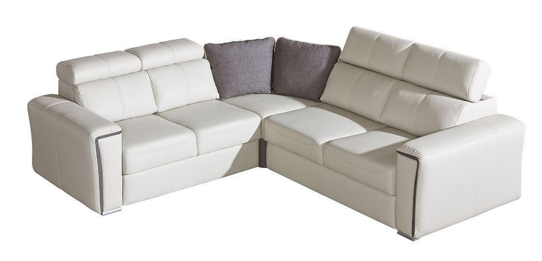 Wohnlandschaft Flunder 06 in weiß mit Bettfunktion und Schublade - 263 x 245 cm (B x T) - Ottomane: Links