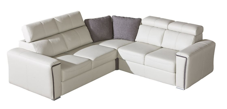 Wohnlandschaft Flunder 06 in weiß mit Bettfunktion und Schublade - 263 x 245 cm (B x T) - Ottomane: Rechts