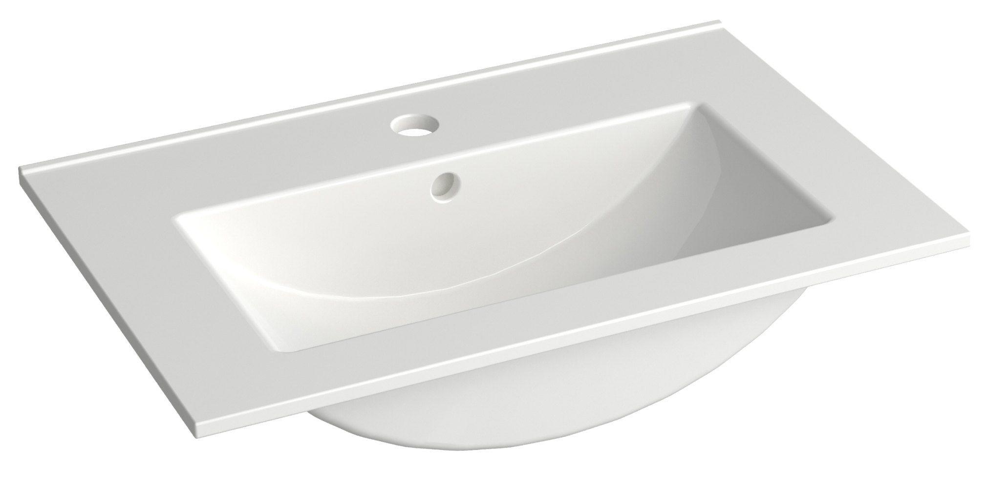 Bad - Waschbecken Bokaro 07, Farbe: Weiß – 13 x 61 x 39 cm (H x B x T)