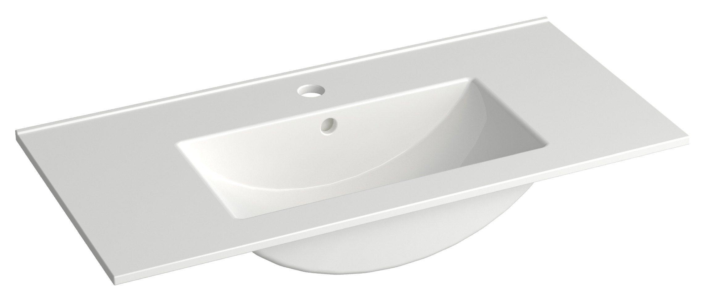 Bad - Waschbecken Bokaro 08, Farbe: Weiß – 13 x 81 x 39 cm (H x B x T)