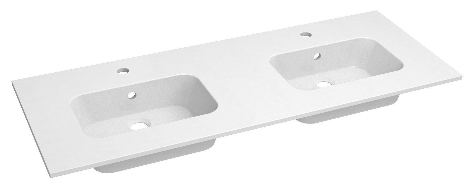 Bad - Doppelwaschbecken Dhule 18, Farbe: Weiß – 10 x 121 x 46 cm (H x B x T)