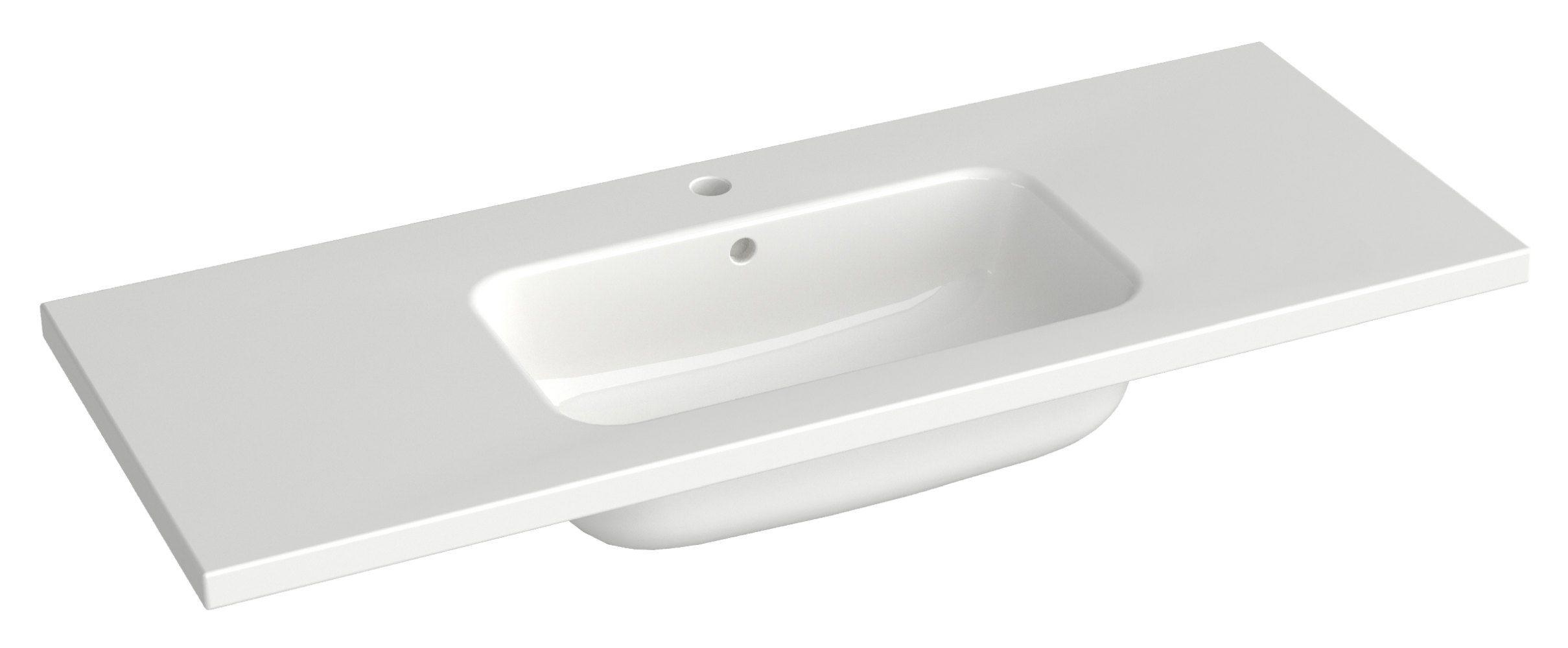 Bad - Waschbecken Dhule 22, Farbe: Weiß – 10 x 121 x 46 cm (H x B x T)
