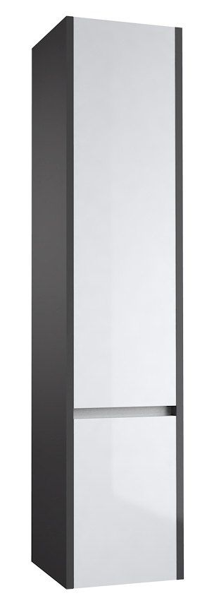 Badezimmer - Hochschrank Kolkata 87, Farbe: Weiß glänzend / Anthrazit glänzend – 160 x 35 x 35 cm (H x B x T)