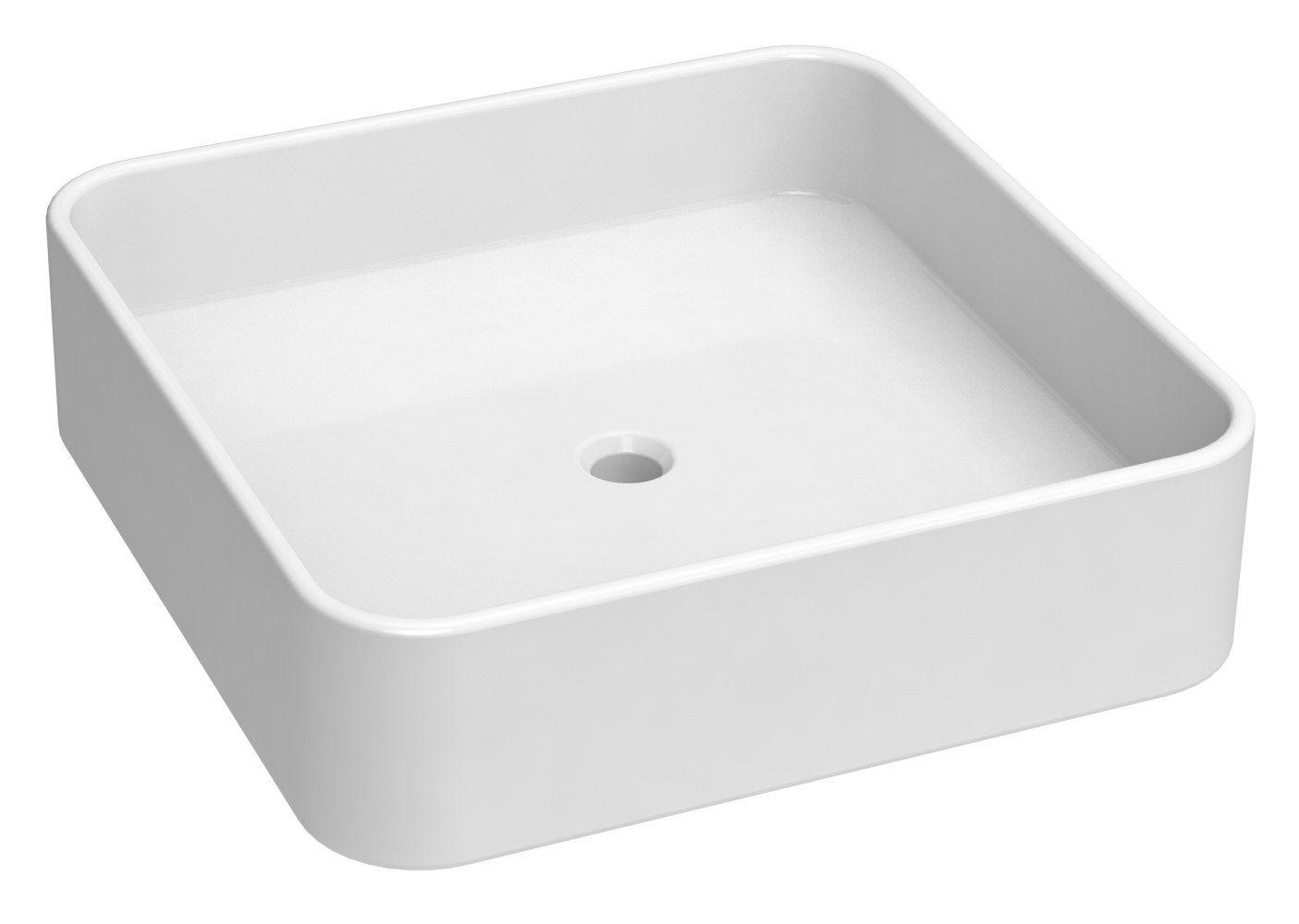 Bad - Waschbecken Dhule 27, Farbe: Weiß – 11 x 40 x 40 cm (H x B x T)