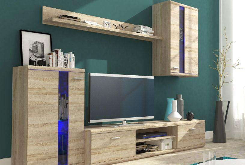 Wohnwand Hammamet 02, Farbe: Eiche Sonoma - 175 x 210 x 42 (H x B x T)
