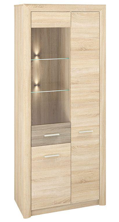 Vitrine Mesquite 02, Farbe: Sonoma Eiche hell / Sonoma Eiche Trüffel - Abmessungen: 199 x 85 x 40 cm (H x B x T), mit 3 Türen und 10 Fächern