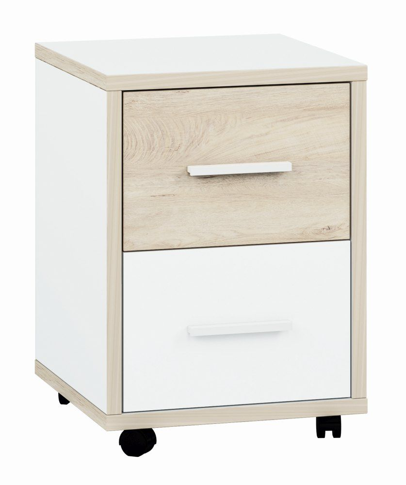 Jugendzimmer - Rollcontainer Forks 08, Farbe: Eiche / Weiß - Abmessungen: 55 x 39 x 40 cm (H x B x T), mit 2 Schubladen