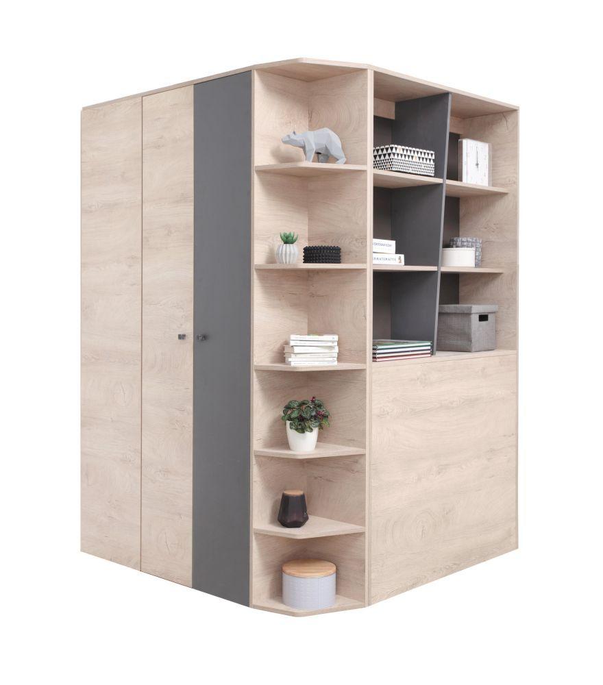 Jugendzimmer - Drehtürenschrank / Eckkleiderschrank Chiny 01, Farbe: Eiche / Grau - Abmessungen: 190 x 135 x 135 cm (H x B x T)