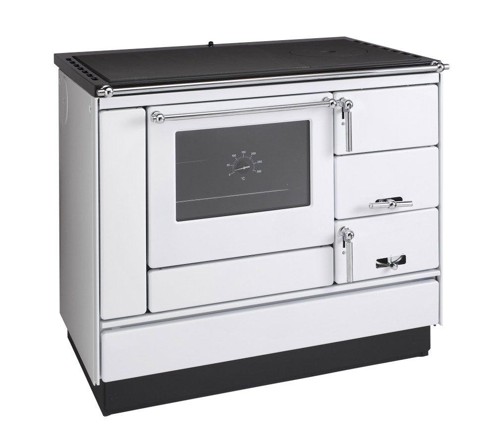 Festbrennstoff -Herd 6-10 kW Weiß mit Glas-Keramikplatte, Edelstahlrahmen und Backrohr - Ausführung: Weiß links mit verchromten Griffen