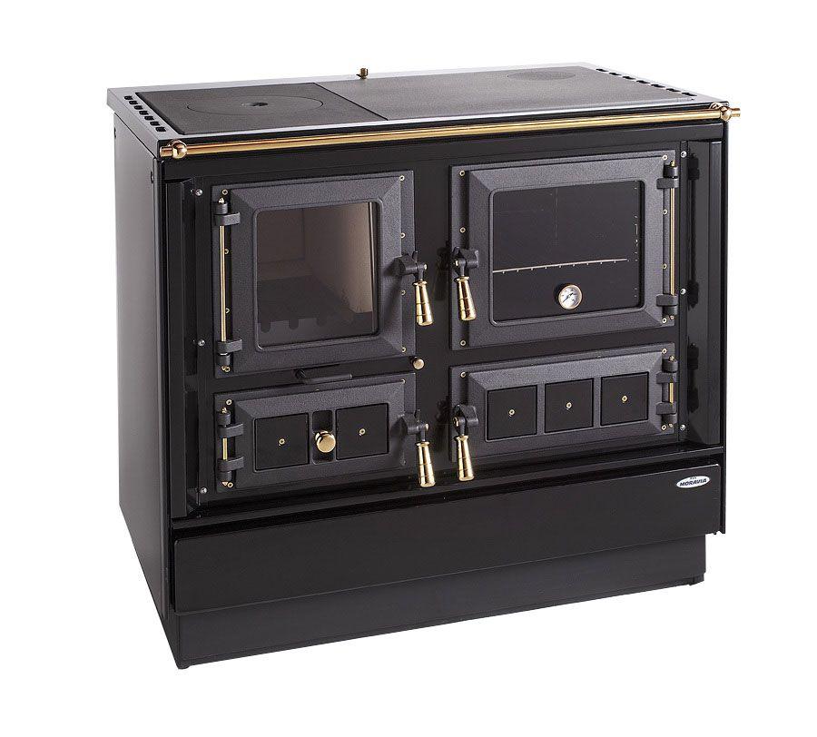 Festbrennstoff-Herd 7,5-10 kW mit Stahlplatte gussgrau und Backrohr - Ausführung: Schwarz rechts mit Titan vergoldeten Griffen