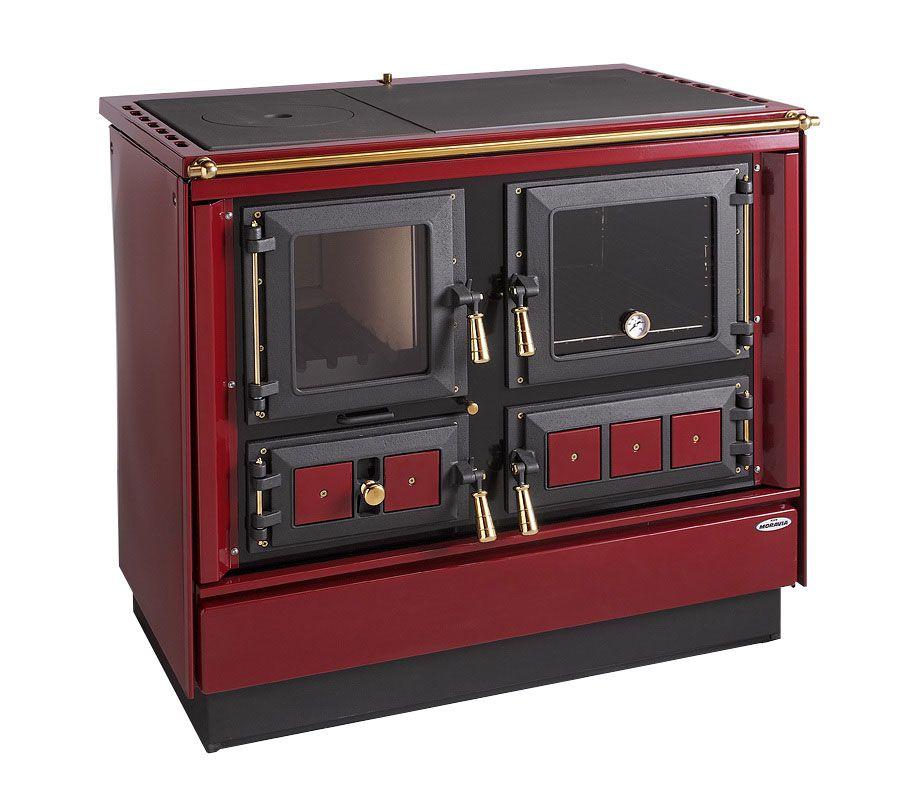 Festbrennstoff-Herd 7,5-10 kW mit Stahlplatte gussgrau und Backrohr - Ausführung: Weinrot rechts mit Titan vergoldeten Griffen