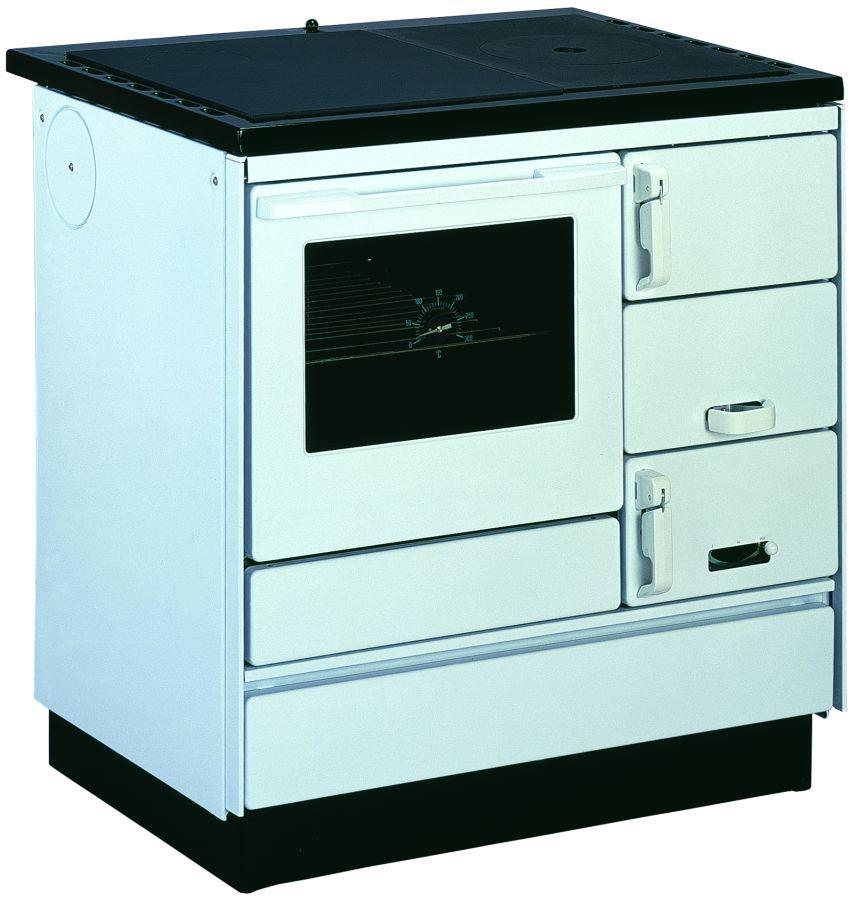 Holz-Küchenherd SONDERAKTION mit Stahlplatte gussgrau und Backrohr - Ausführung: Weiß links mit Plastikgriffen