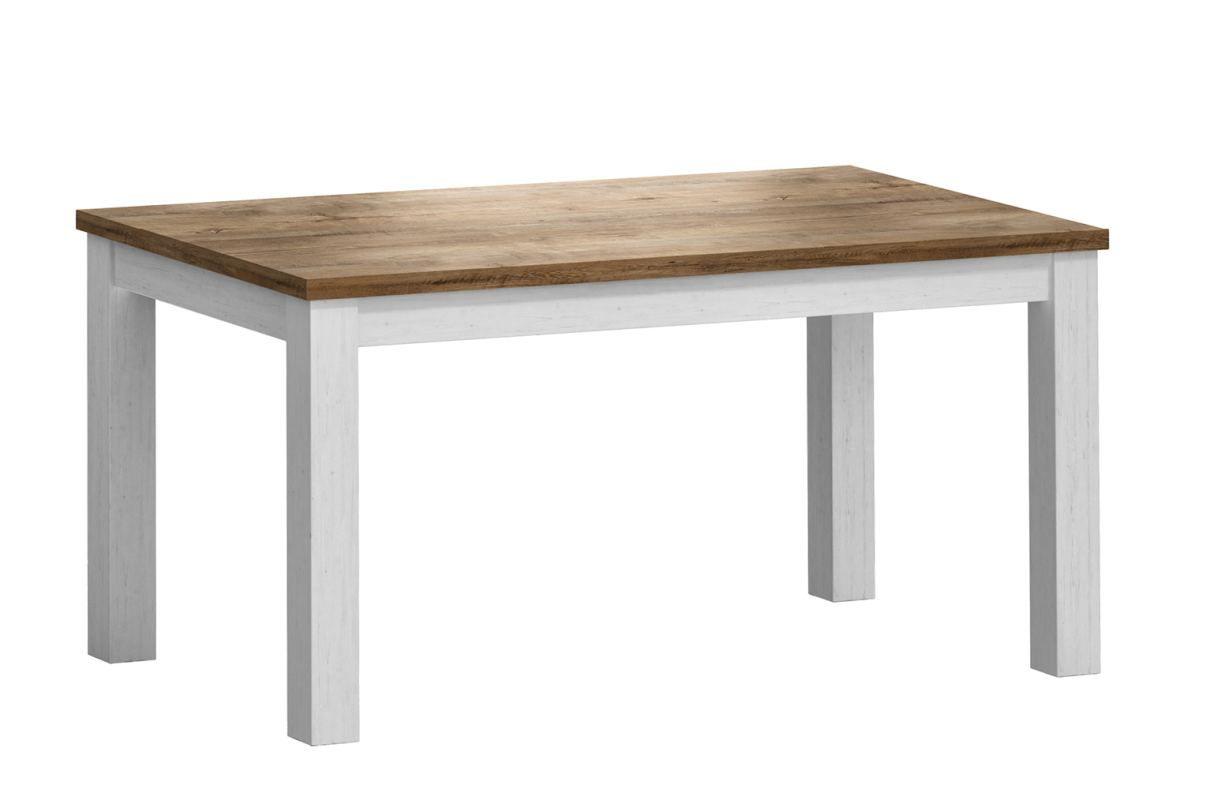 Esstisch ausziehbar Segnas 15, Farbe: Kiefer Weiß / Eiche Braun - 160 - 203 x 90 cm (B x T)