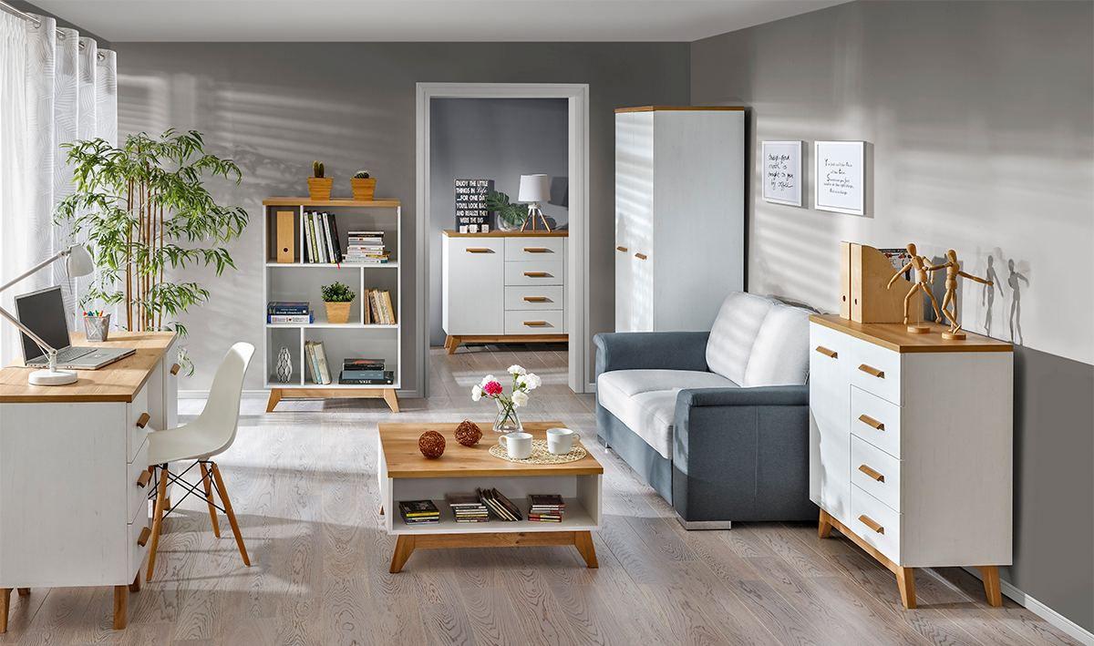 Wohnzimmer Komplett - Set A Panduros, 6-teilig, Farbe: Kiefer Weiß / Eiche Braun