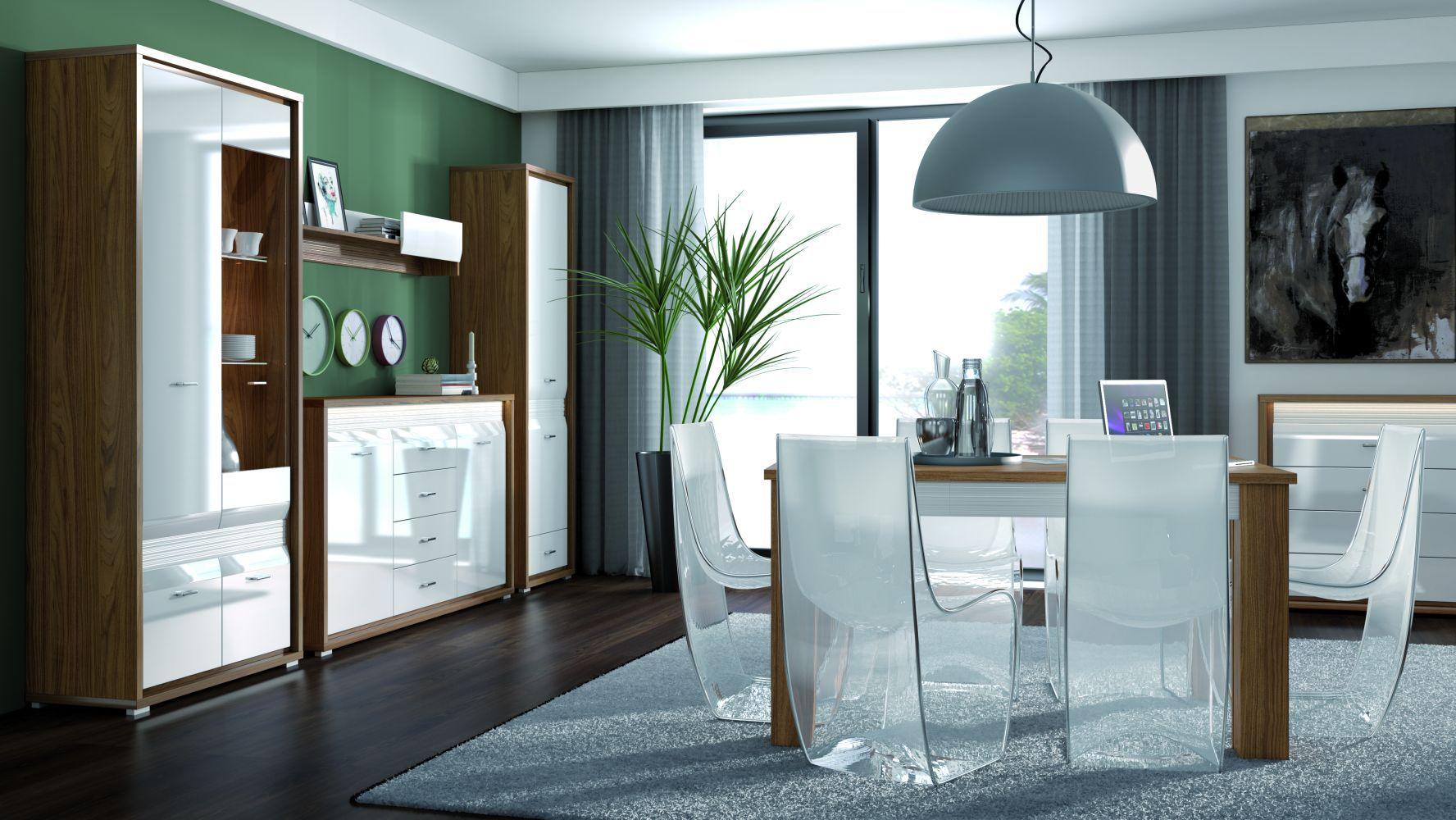 Esszimmer Komplett - Set C Tempe, 6-teilig, Farbe: Nussfarben / Weiß Hochglanz, Fronteinsatz: Weiß