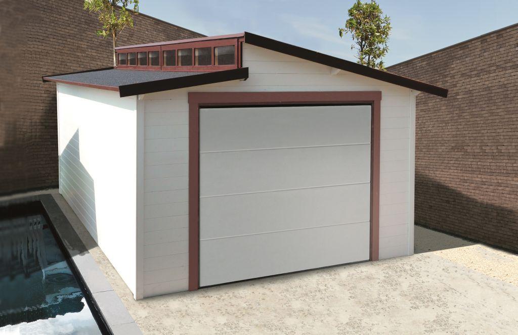 Garage Primula S8248 - 28 mm Blockbohlenhaus, Grundfläche: 20,06 m², Stufendach
