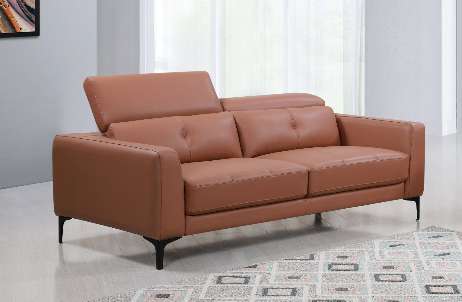 Echtleder Premium Couch Torino, 3-Sitz Sofa, Farbe: Oxford-braun