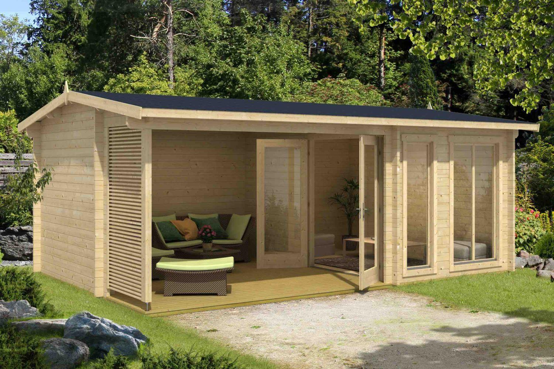 Gartenhaus G168 inkl. Fußboden und Terrasse - 44 mm Blockbohlenhaus, Grundfläche: 21,27 m², Satteldach
