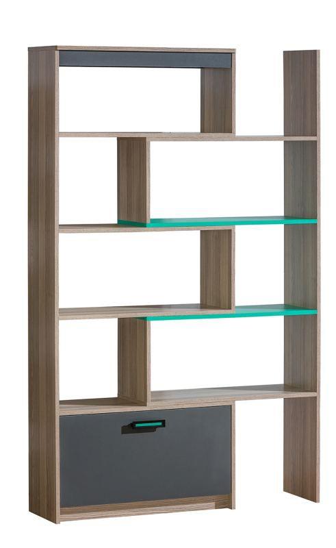 Jugendzimmer - Regal Marcel 14, Farbe: Esche Türkis / Grau / Braun - Abmessungen: 187 x 80 - 135 x 31 cm (H x B x T)